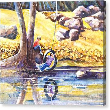 Children And The  Old Tire Swing Canvas Print