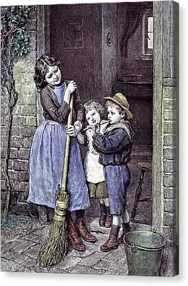 Children And The Saturdays Purchase 1891 Straw Hat Broom Canvas Print