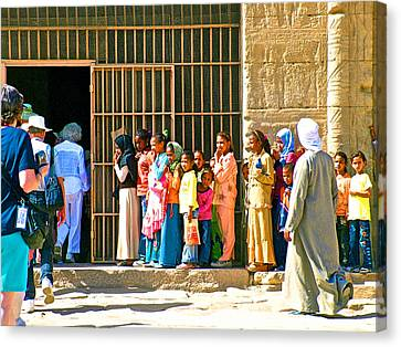 Children And Tourists At Entry To Temple Of Hathor In Dendera-egypt Copy Canvas Print by Ruth Hager