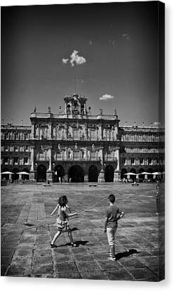 Children At Play In Salamanca Canvas Print