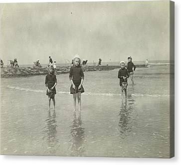 Children At Sea North Sea, The Netherlands Or Germany Canvas Print