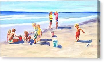 Children At The Beach Canvas Print