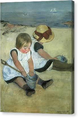 Sailing Ocean Canvas Print - Children At The Seashore by Mary Cassatt