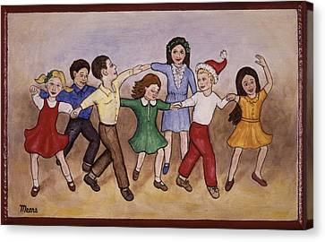 Children Dancing Canvas Print by Linda Mears