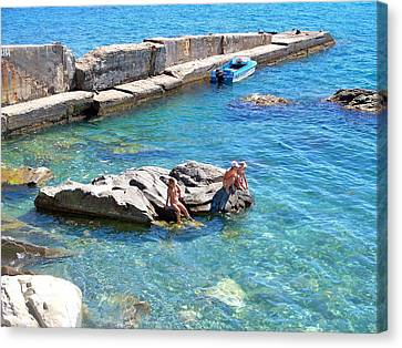 Children Fascinated With Black Sea  Canvas Print by Rick Todaro