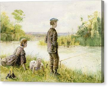 Children Fishing By A Stream Canvas Print by George Goodwin Kilburne