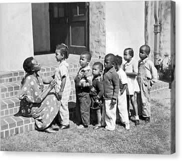 Children Get School Inspection Canvas Print by Underwood Archives