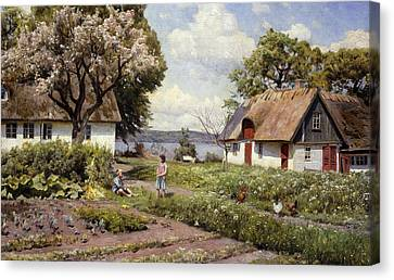 Youthful Canvas Print - Children In A Farmyard by Peder Monsted