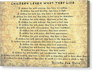 Children Learn What They Live Inspiration Canvas Print