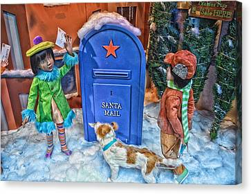 Children Mailing Their Letters To Santa Hdr Canvas Print by Thomas Woolworth
