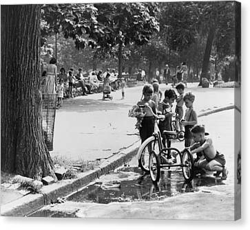 Tricycle Canvas Print - Children Playing In Park by Fred Palumbo