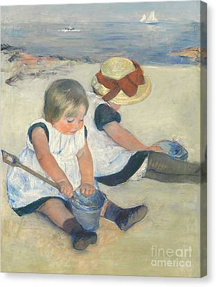 Children Playing On The Beach Canvas Print by Mary Stevenson Cassatt