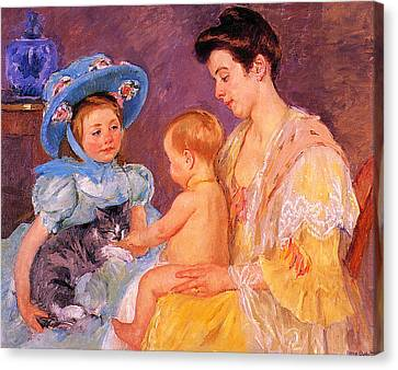 Children Playing With A Cat Canvas Print by Marry Cassatt