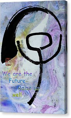 Canvas Print featuring the mixed media Children Raise Us Well by Peter v Quenter