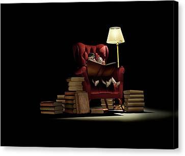 Children Reading At Night Canvas Print by Mikkel Juul Jensen