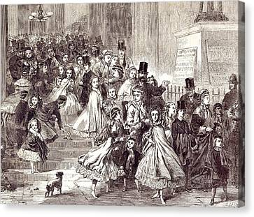 Children Returning From The Christmas Pantomime 1866 Canvas Print by English School
