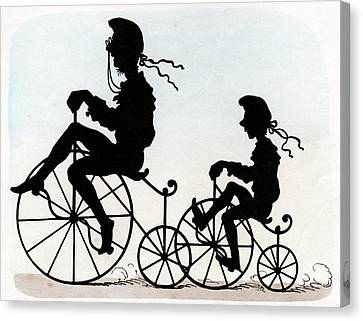 Two Wheeler Canvas Print - Children Riding Velocipedes by Cci Archives