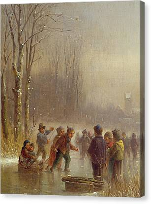 Children Skating Canvas Print by Anton Doll