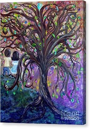 Canvas Print featuring the painting Children Under The Fantasy Tree With Jackie Joyner-kersee by Eloise Schneider