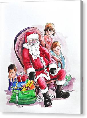 Children Patiently Waiting Up For Santa. Canvas Print