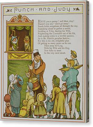 Children Watching A Punch And Judy Show Canvas Print by British Library