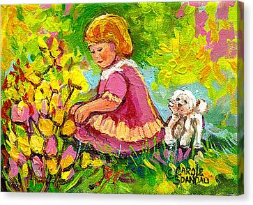Children's Art - Little Girl With Puppy - Paintings For Children Canvas Print by Carole Spandau