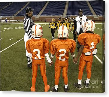Canvas Print featuring the photograph Children's Football by Jim West