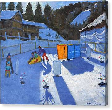 Childrens Ice Rink Canvas Print by Andrew Macara
