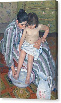 Dressing Room Canvas Print - Child's Bath 1893 by  Mary Stevenson Cassatt