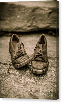 Yesterday Canvas Print - Child's Old Leather Shoes by Edward Fielding