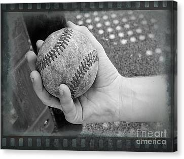 Childs Play - Baseball Black And White Canvas Print