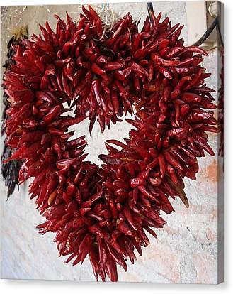 Canvas Print featuring the photograph Chili Pepper Heart by Kerri Mortenson