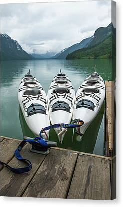Chilkoot Lake, Kayaks At The Dock Canvas Print by Michael Qualls