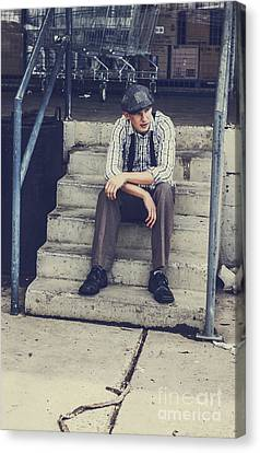Melancholy Canvas Print - Chilled Out Retro Fashion Model  by Jorgo Photography - Wall Art Gallery