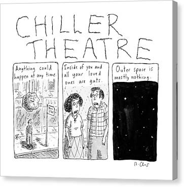 Chiller Theatre -- Scary Thoughts That Parody Canvas Print by Roz Chast