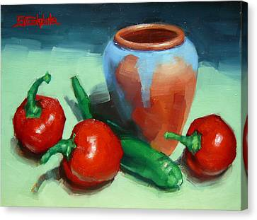 Chilli Peppers And Pot Canvas Print by Margaret Stockdale