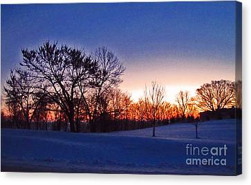 Chilly Beautiful Sunrise Canvas Print by Minding My  Visions by Adri and Ray