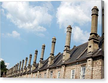Canvas Print featuring the photograph Chimney Stacks At The Ready by Linda Prewer