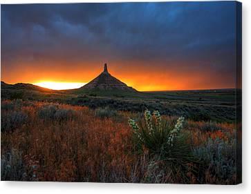 Chimney Rock Sunset Canvas Print by Chris Allington