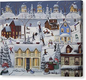 Chimney Smoke And Cheery Snow Folk Canvas Print