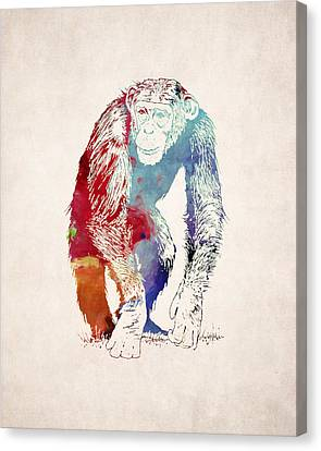 Ape Canvas Print - Chimpanzee Drawing - Design by World Art Prints And Designs