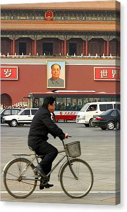 Canvas Print featuring the photograph China Bicycle by Henry Kowalski