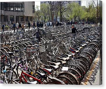 Canvas Print featuring the photograph China Bicycle Parking by Henry Kowalski