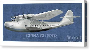 Canvas Print featuring the drawing China Clipper Nc 14716 by Kenneth De Tore