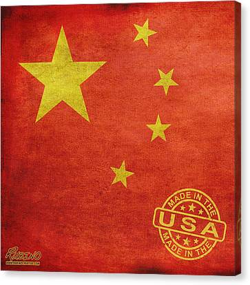 China Flag Made In The Usa Canvas Print by Tony Rubino