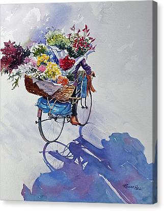 Bicycle With Flowers Canvas Print - China Florist by Renae Hill
