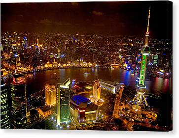 China Shanghai At Night  Canvas Print by Anonymous