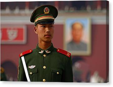 Canvas Print featuring the photograph China Soldier by Henry Kowalski