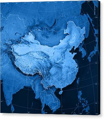 China Topographic Map Canvas Print by Frank Ramspott