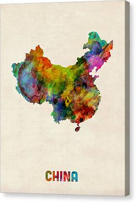 Map Art Canvas Print - China Watercolor Map by Michael Tompsett